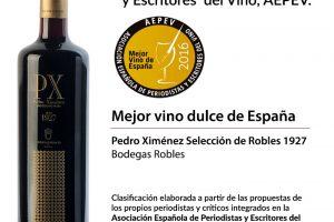 Mejor vino dulce de España 2016: Pedro Ximénez Selección de Robles 1927.