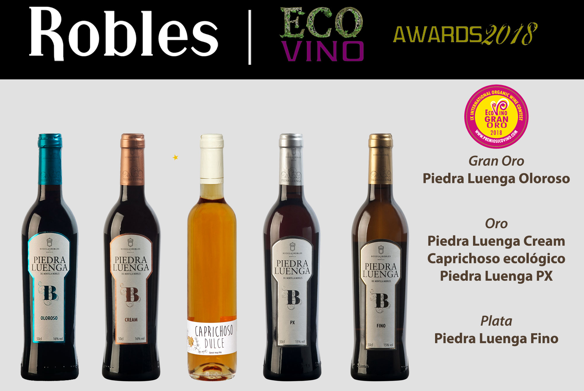 Bodegas Robles, best score Ecovino 2018 (Rioja) with organic Oloroso wine