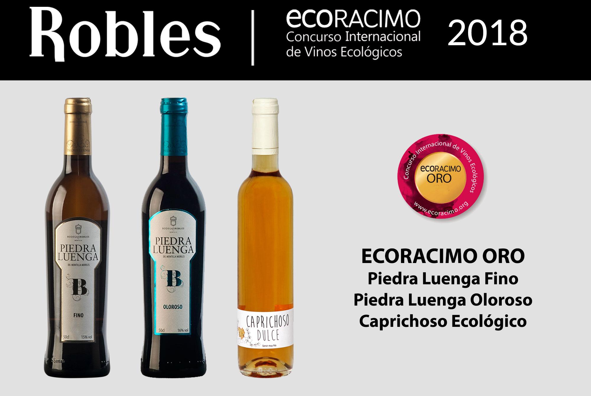 Bodegas Robles alcanza tres Oros en Ecoracimo 2018