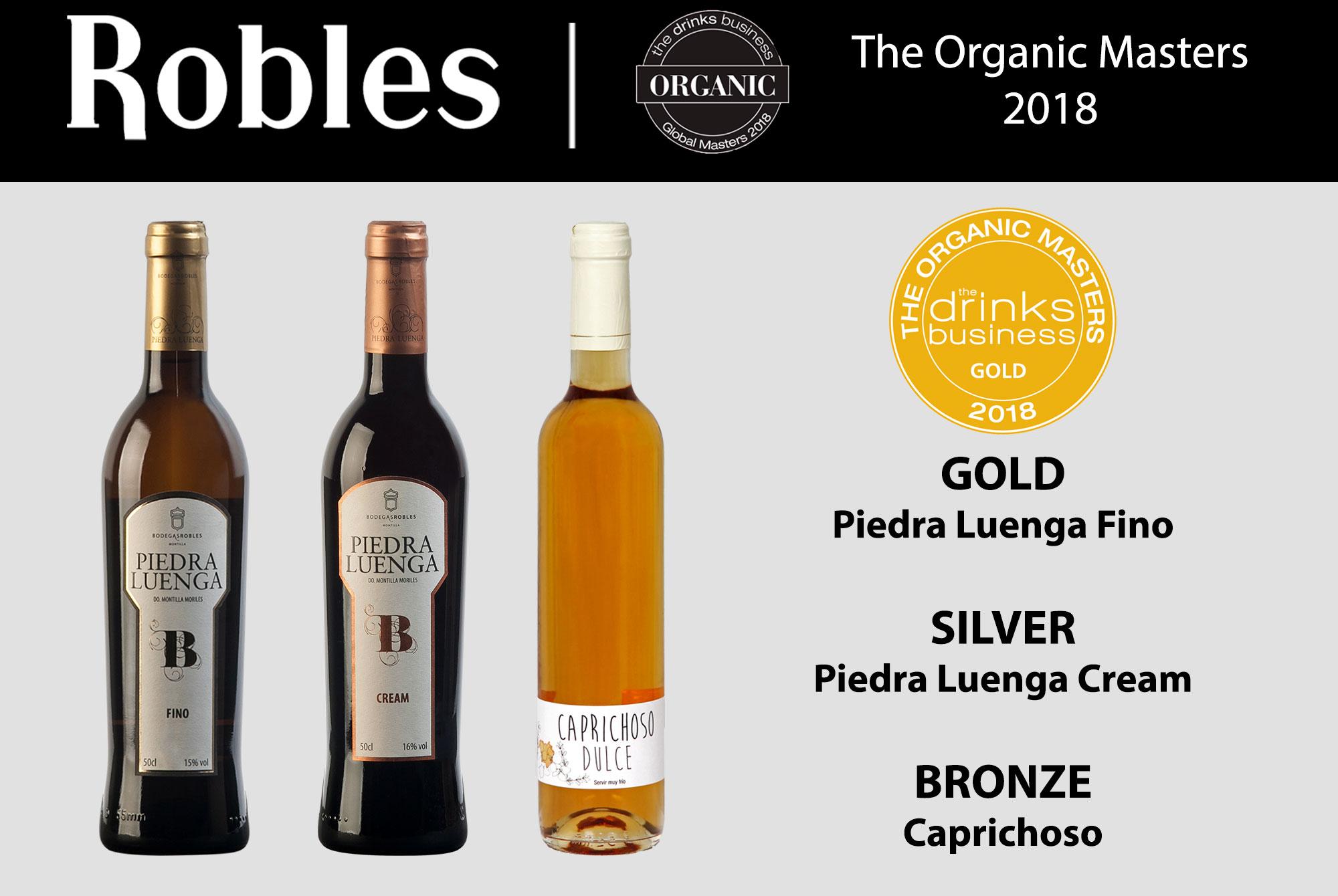 Masters of Wines reconocen los vinos de Bodegas Robles: The Global Organic Masters.