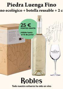 Selección: Piedra Luenga Fino 5l + botella reusable + 2 catavinos