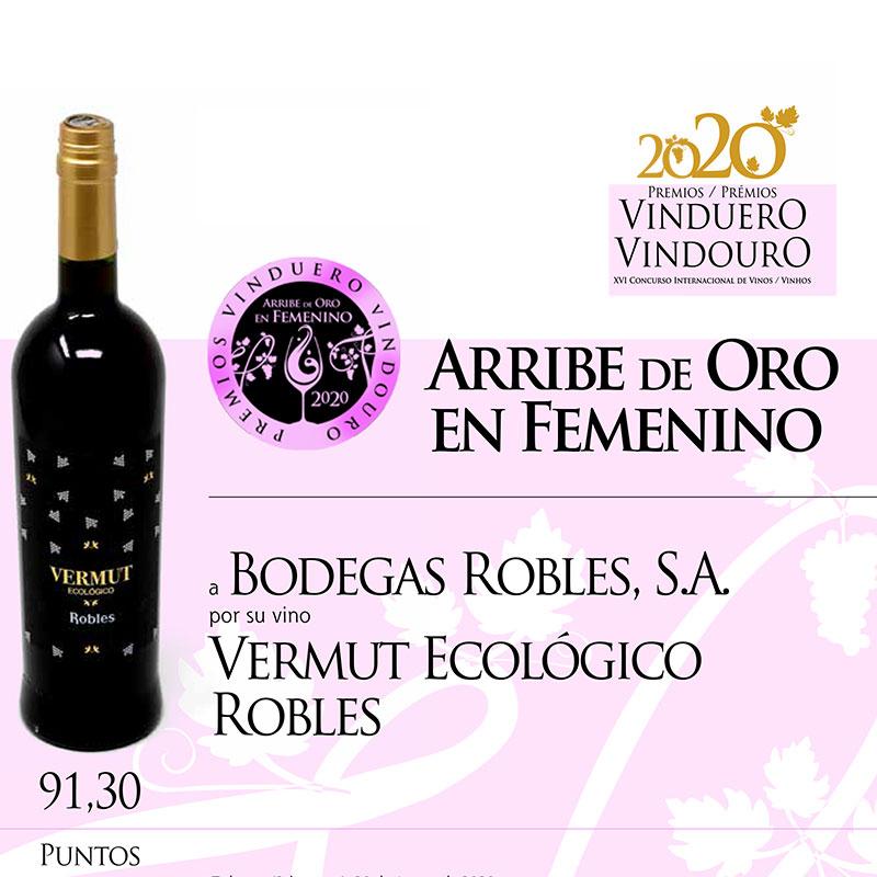 Vermut Ecológico Robles premiado con el Arribe de Oro en Femenino