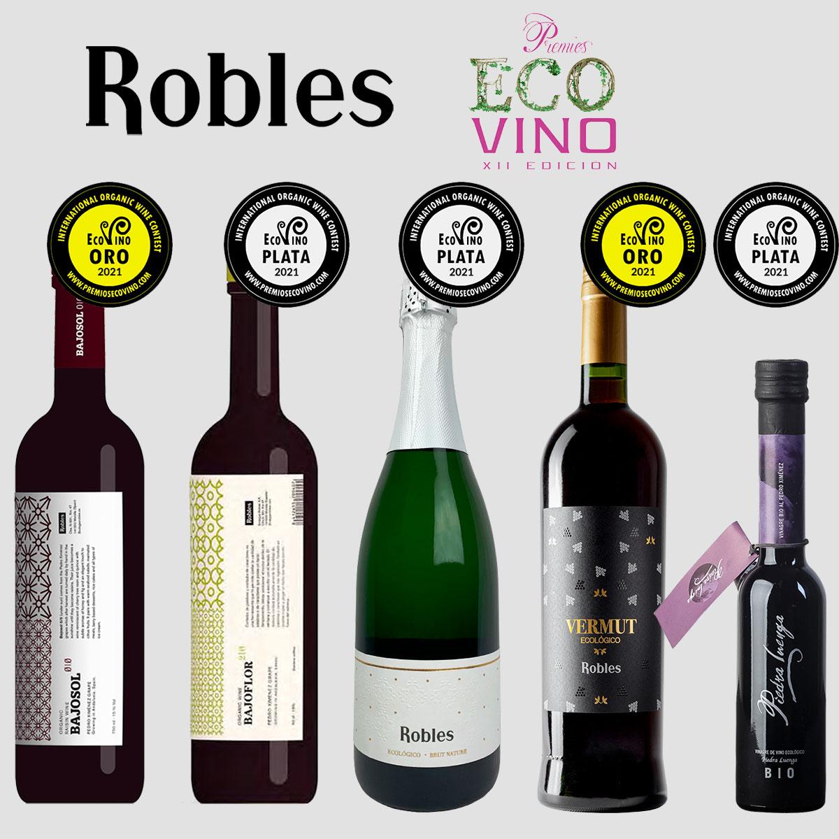 Robles recoge cinco galardones en Ecovino 2021