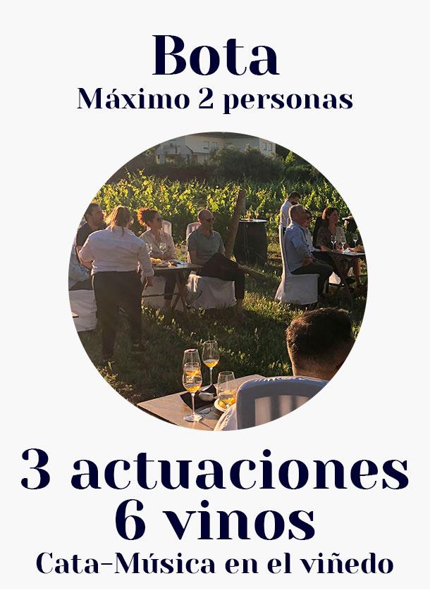 Bota. / 3 actuaciones, 6 vinos