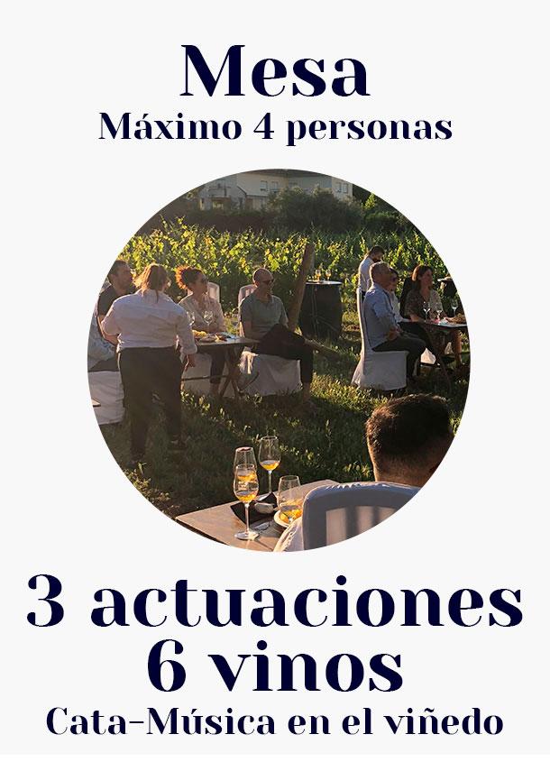 Mesa 3 actuaciones, 6 vinos